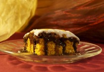 Pumpkin cake with chocolate sauce.