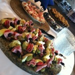 Antipasta skewers and other finger food appetizers.